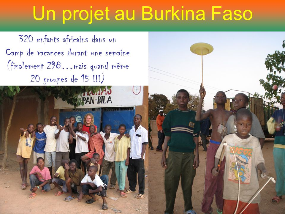 Un projet au Burkina Faso 320 enfants africains dans un Camp de vacances durant une semaine (finalement 298…mais quand même 20 groupes de 15 !!!)