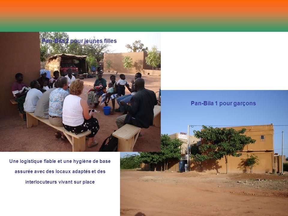 Pan-Bila 2 pour jeunes filles Pan-Bila 1 pour garçons Une logistique fiable et une hygiène de base assurée avec des locaux adaptés et des interlocuteu