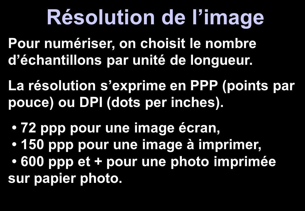 Résolution de l'image Pour numériser, on choisit le nombre d'échantillons par unité de longueur. La résolution s'exprime en PPP (points par pouce) ou