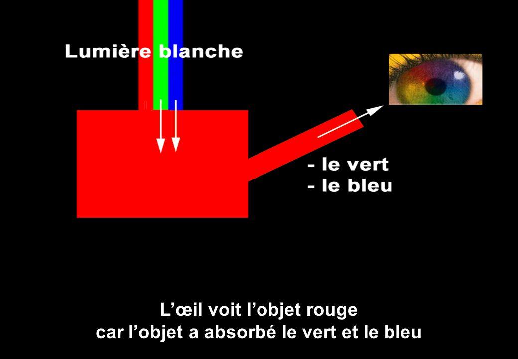 L'œil voit l'objet rouge car l'objet a absorbé le vert et le bleu