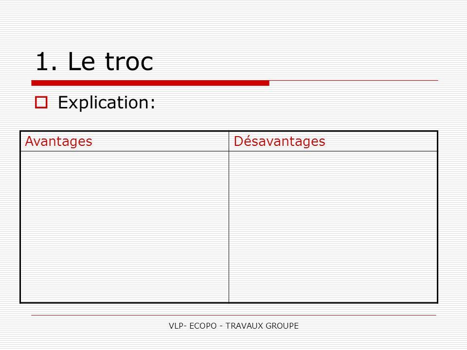 VLP- ECOPO - TRAVAUX GROUPE 1. Le troc  Explication: AvantagesDésavantages