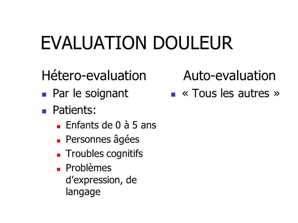 EVALUATION DOULEUR Hétero-evaluation Par le soignant Patients: Enfants de 0 à 5 ans Personnes âgées Troubles cognitifs Problèmes d'expression, de lang