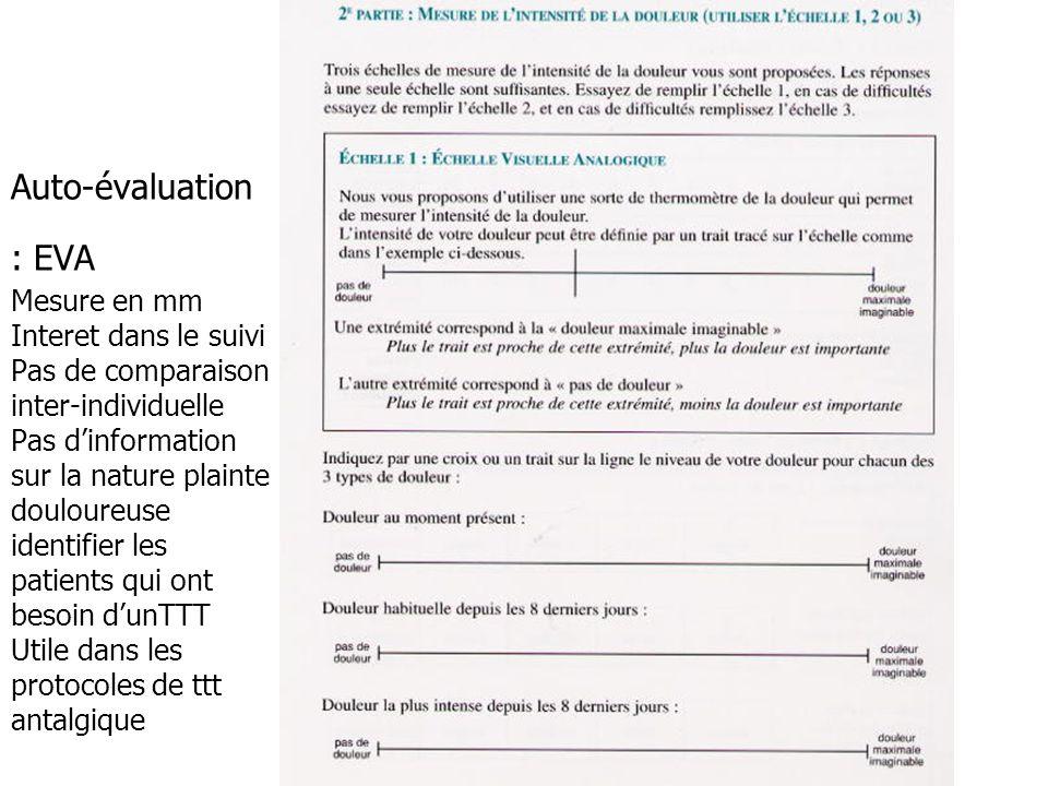 Auto-évaluation : EVA Mesure en mm Interet dans le suivi Pas de comparaison inter-individuelle Pas d'information sur la nature plainte douloureuse ide