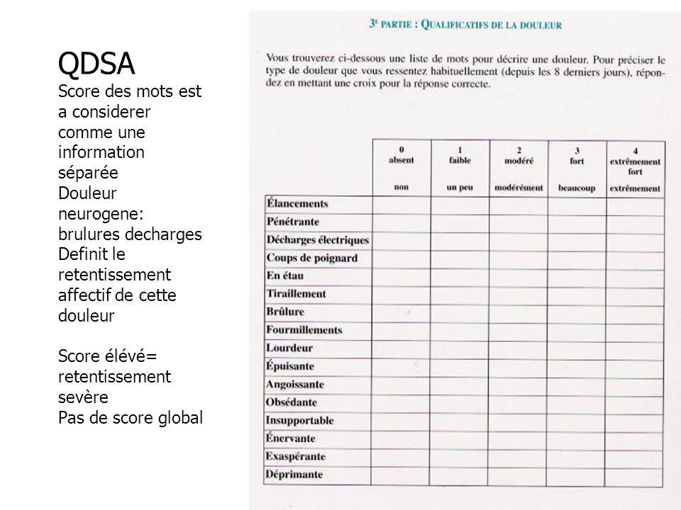 QDSA Score des mots est a considerer comme une information séparée Douleur neurogene: brulures decharges Definit le retentissement affectif de cette d