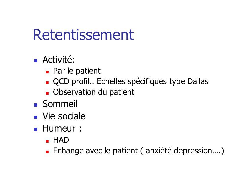 Retentissement Activité: Par le patient QCD profil.. Echelles spécifiques type Dallas Observation du patient Sommeil Vie sociale Humeur : HAD Echange