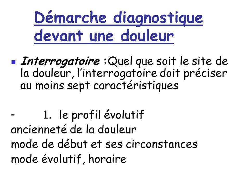 Démarche diagnostique devant une douleur Interrogatoire :Quel que soit le site de la douleur, l'interrogatoire doit préciser au moins sept caractérist