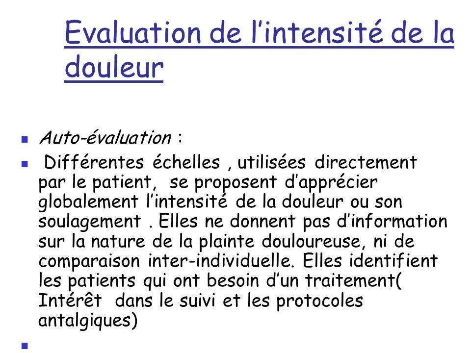 Evaluation de l'intensité de la douleur Auto-évaluation : Différentes échelles, utilisées directement par le patient, se proposent d'apprécier globale