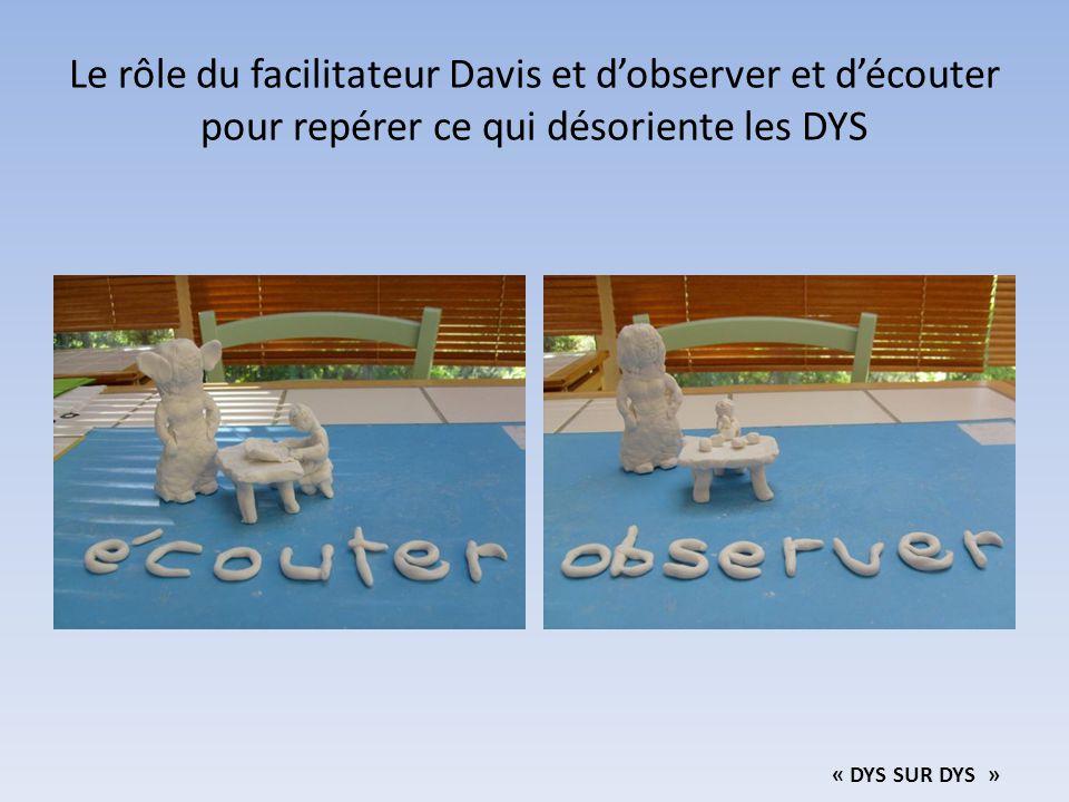 Le rôle du facilitateur Davis et d'observer et d'écouter pour repérer ce qui désoriente les DYS « DYS SUR DYS »