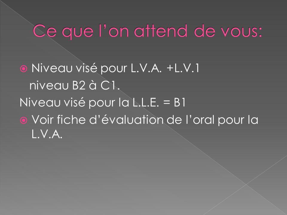  Niveau visé pour L.V.A. +L.V.1 niveau B2 à C1. Niveau visé pour la L.L.E. = B1  Voir fiche d'évaluation de l'oral pour la L.V.A.
