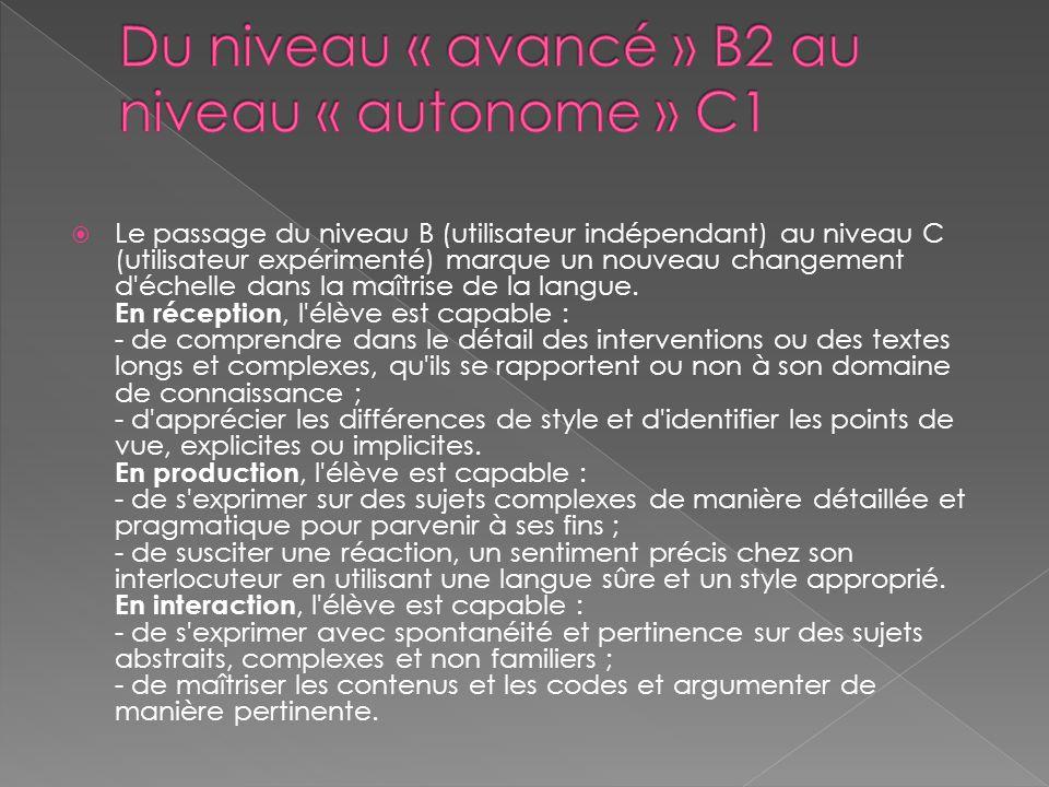  Le passage du niveau B (utilisateur indépendant) au niveau C (utilisateur expérimenté) marque un nouveau changement d échelle dans la maîtrise de la langue.