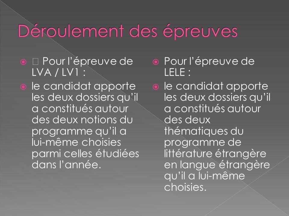   Pour l'épreuve de LVA / LV1 :  le candidat apporte les deux dossiers qu'il a constitués autour des deux notions du programme qu'il a lui-même choisies parmi celles étudiées dans l'année.