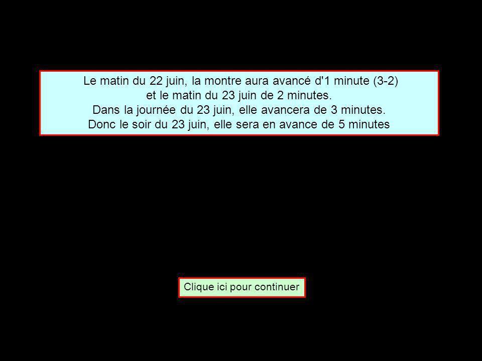 Une montre avance de 3 minutes pendant la journée et retarde de 2 minutes pendant la nuit.