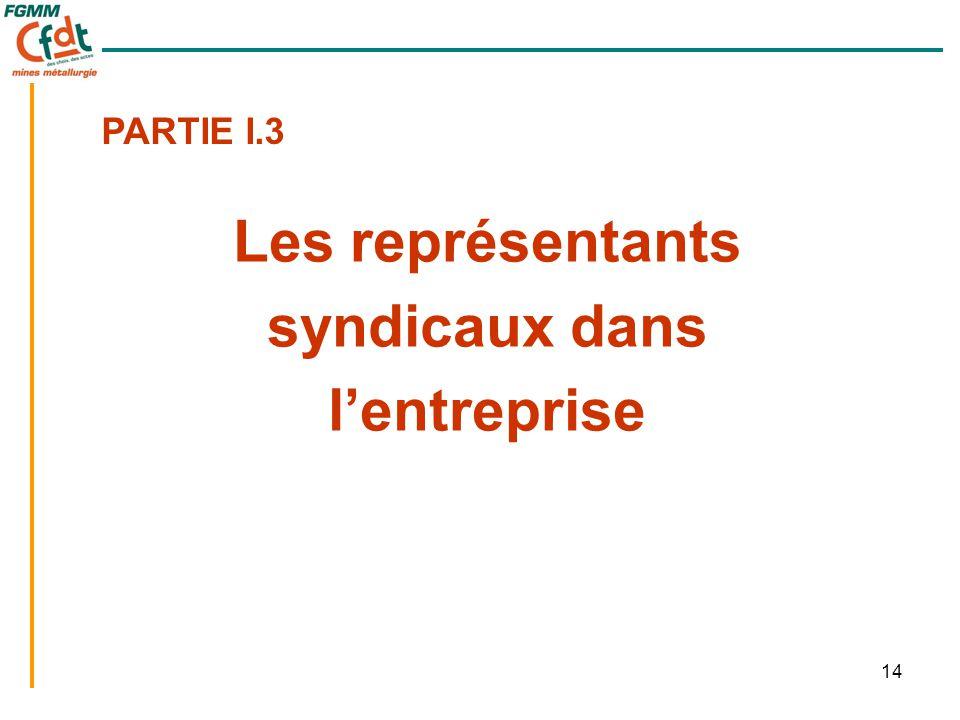 14 Les représentants syndicaux dans l'entreprise PARTIE I.3