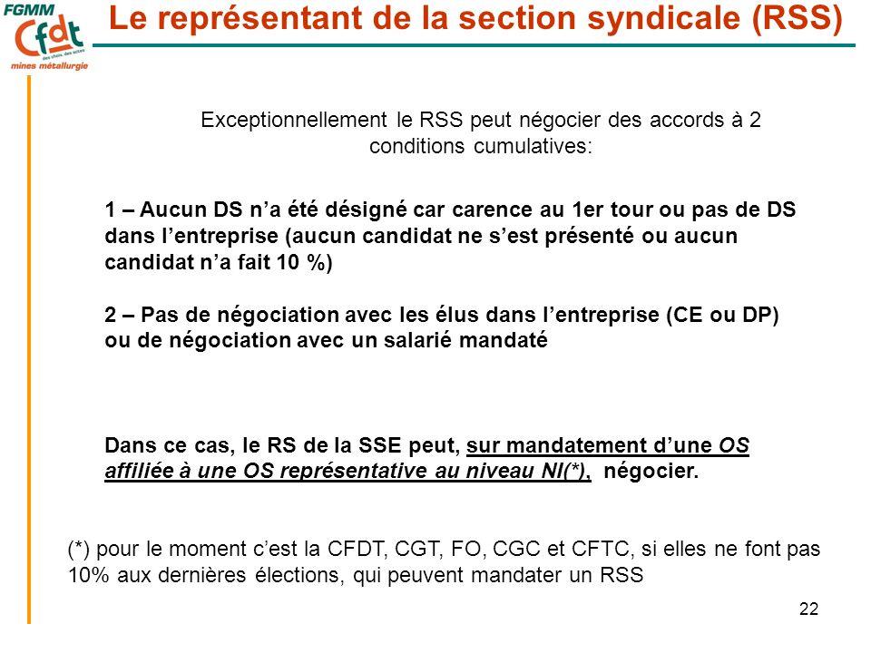 22 Le représentant de la section syndicale (RSS) Exceptionnellement le RSS peut négocier des accords à 2 conditions cumulatives: 1 – Aucun DS n'a été