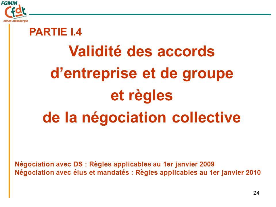 24 Négociation avec DS : Règles applicables au 1er janvier 2009 Négociation avec élus et mandatés : Règles applicables au 1er janvier 2010 Validité de