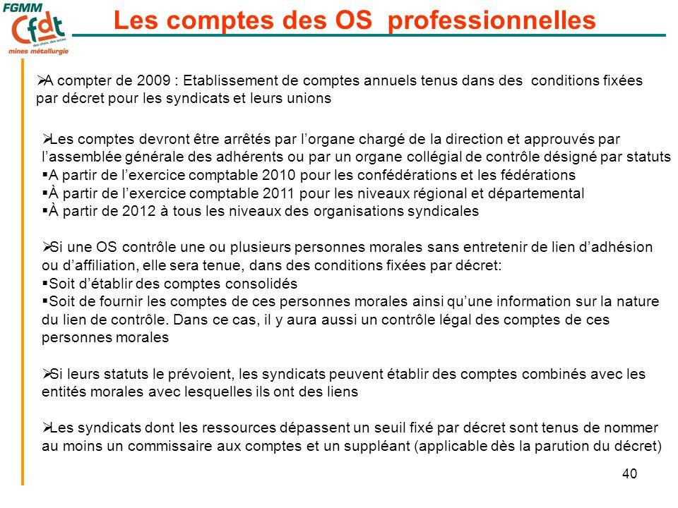 40 Les comptes des OS professionnelles  A compter de 2009 : Etablissement de comptes annuels tenus dans des conditions fixées par décret pour les syn