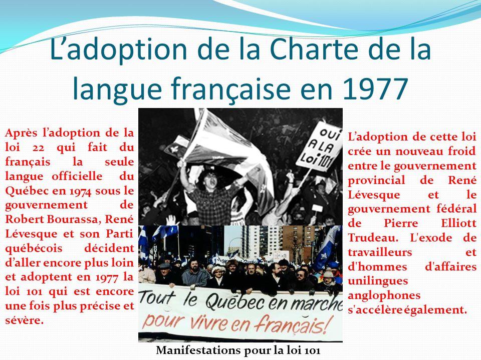 L'adoption de la Charte de la langue française en 1977 Manifestations pour la loi 101 Après l'adoption de la loi 22 qui fait du français la seule lang
