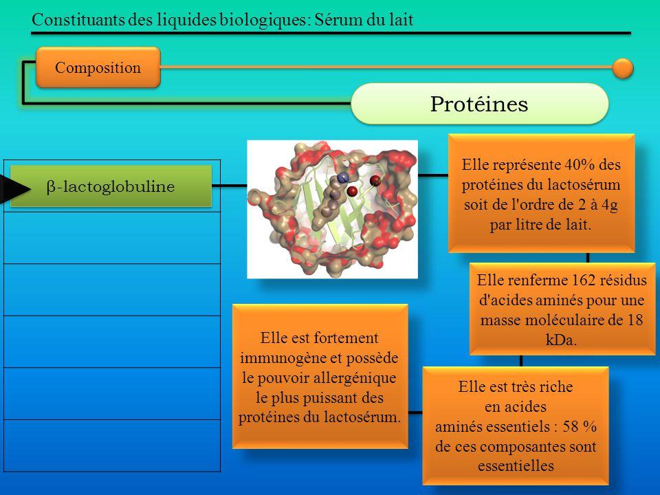 Constituants des liquides biologiques: Sérum du lait Composition Protéines β-lactoglobuline Elle représente 40% des protéines du lactosérum soit de l'