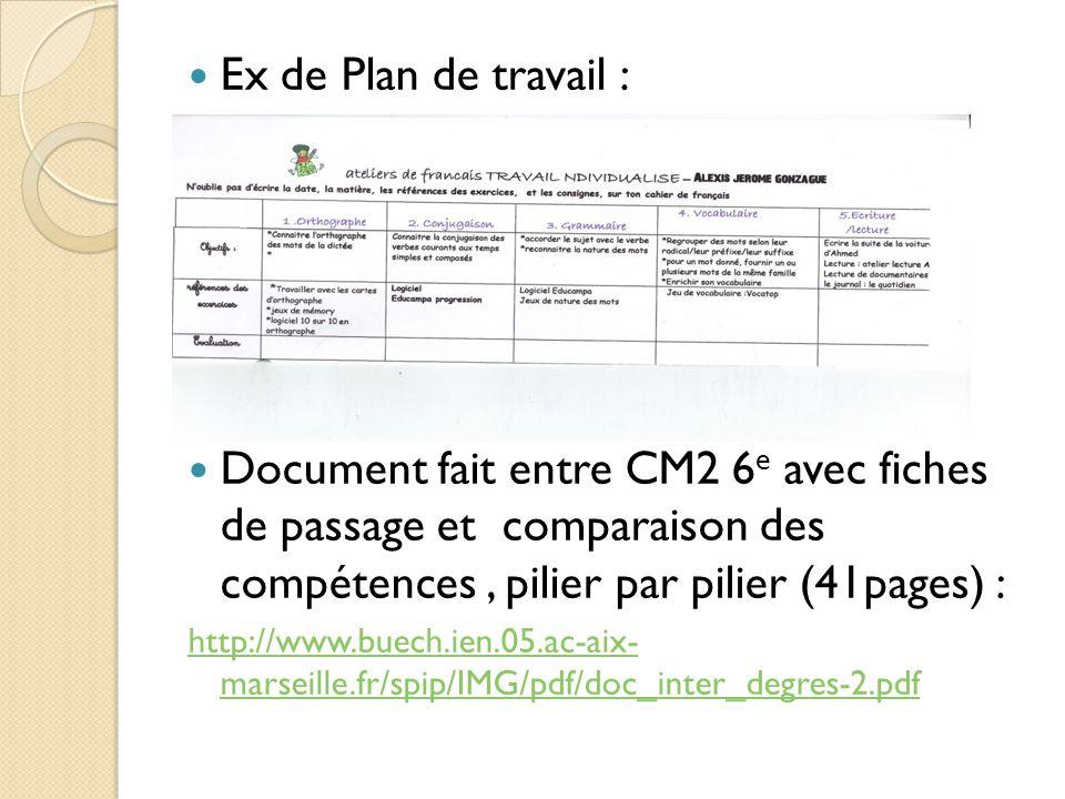 Ex de Plan de travail : Document fait entre CM2 6 e avec fiches de passage et comparaison des compétences, pilier par pilier (41pages) : http://www.buech.ien.05.ac-aix- marseille.fr/spip/IMG/pdf/doc_inter_degres-2.pdf
