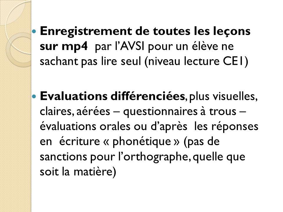 Enregistrement de toutes les leçons sur mp4 par l'AVSI pour un élève ne sachant pas lire seul (niveau lecture CE1) Evaluations différenciées, plus visuelles, claires, aérées – questionnaires à trous – évaluations orales ou d'après les réponses en écriture « phonétique » (pas de sanctions pour l'orthographe, quelle que soit la matière)