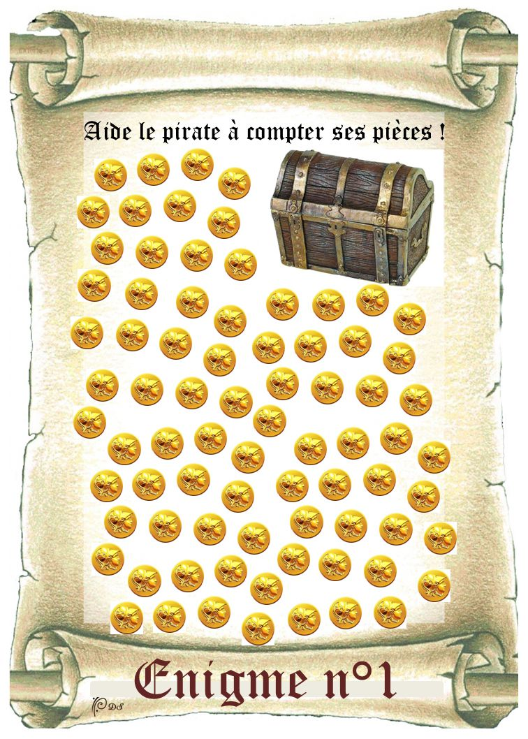 Enigme n°1 Aide le pirate à compter ses pièces !