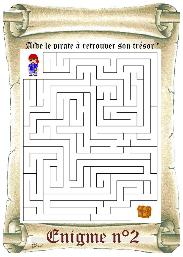 Enigme n°2 Aide le pirate à retrouver son trésor !