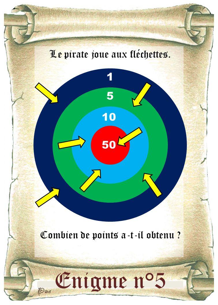 Enigme n°5 Le pirate joue aux fléchettes. Combien de points a-t-il obtenu ? 50 10 5 1