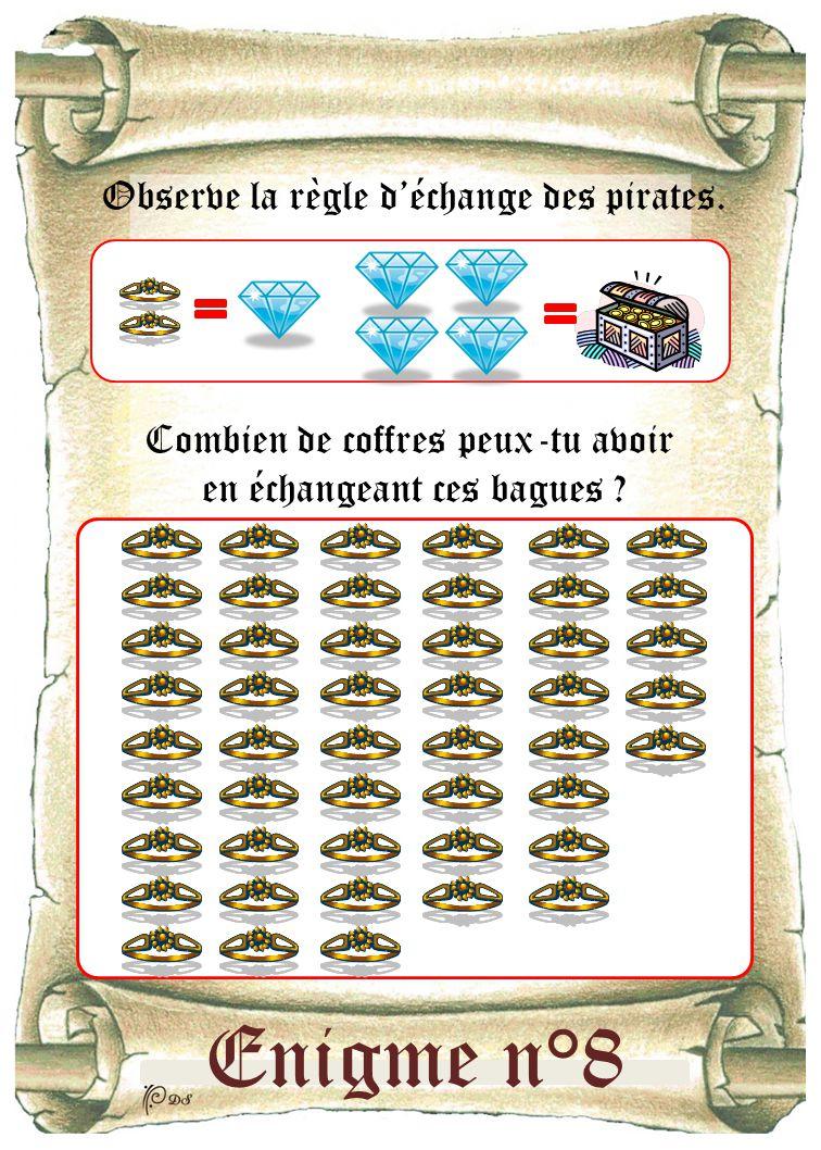 Enigme n°8 Observe la règle d'échange des pirates. Combien de coffres peux-tu avoir en échangeant ces bagues ?