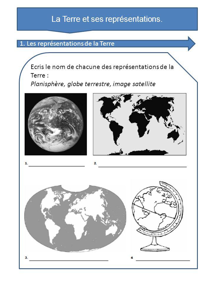 La Terre et ses représentations. Ecris le nom de chacune des représentations de la Terre : Planisphère, globe terrestre, image satellite 1. Les représ