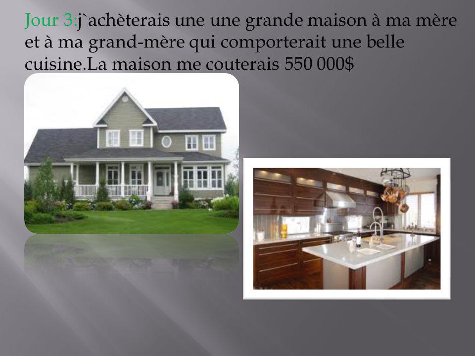 Jour 3:j`achèterais une une grande maison à ma mère et à ma grand-mère qui comporterait une belle cuisine.La maison me couterais 550 000$
