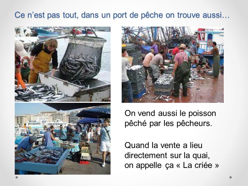 Ce n'est pas tout, dans un port de pêche on trouve aussi… On vend aussi le poisson pêché par les pêcheurs.