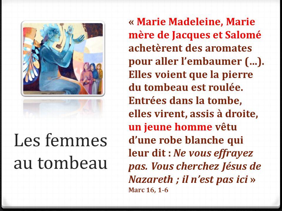 Les femmes au tombeau « Marie Madeleine, Marie mère de Jacques et Salomé achetèrent des aromates pour aller l'embaumer (…). Elles voient que la pierre
