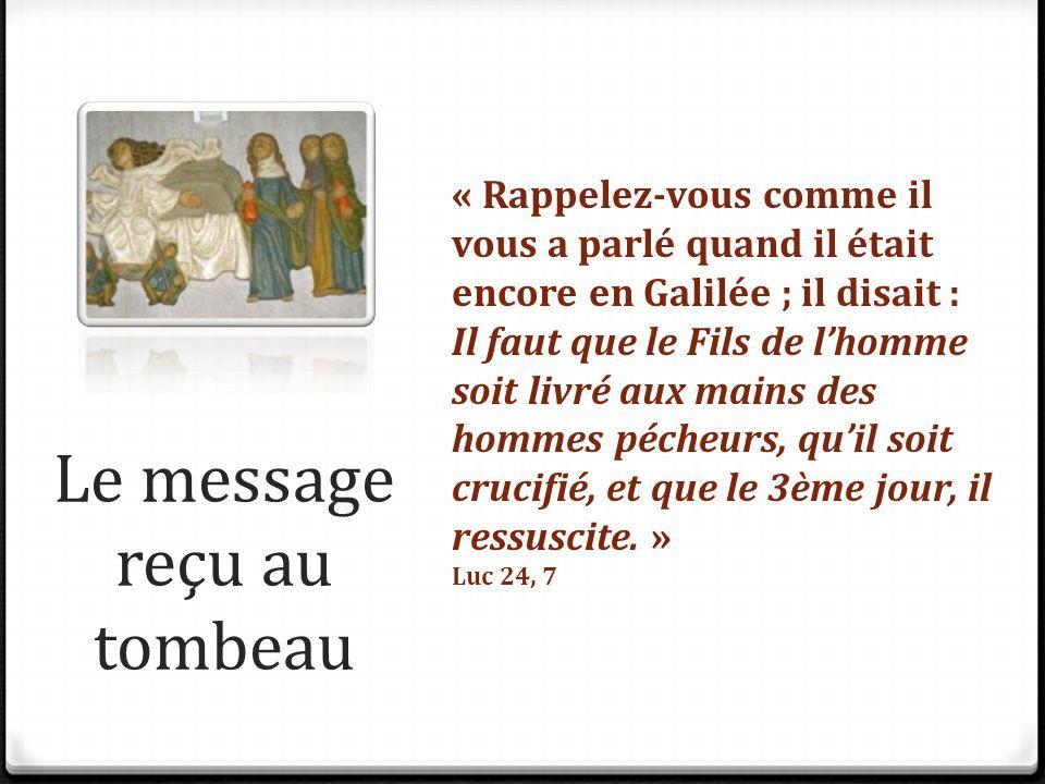 Le message reçu au tombeau « Rappelez-vous comme il vous a parlé quand il était encore en Galilée ; il disait : Il faut que le Fils de l'homme soit li