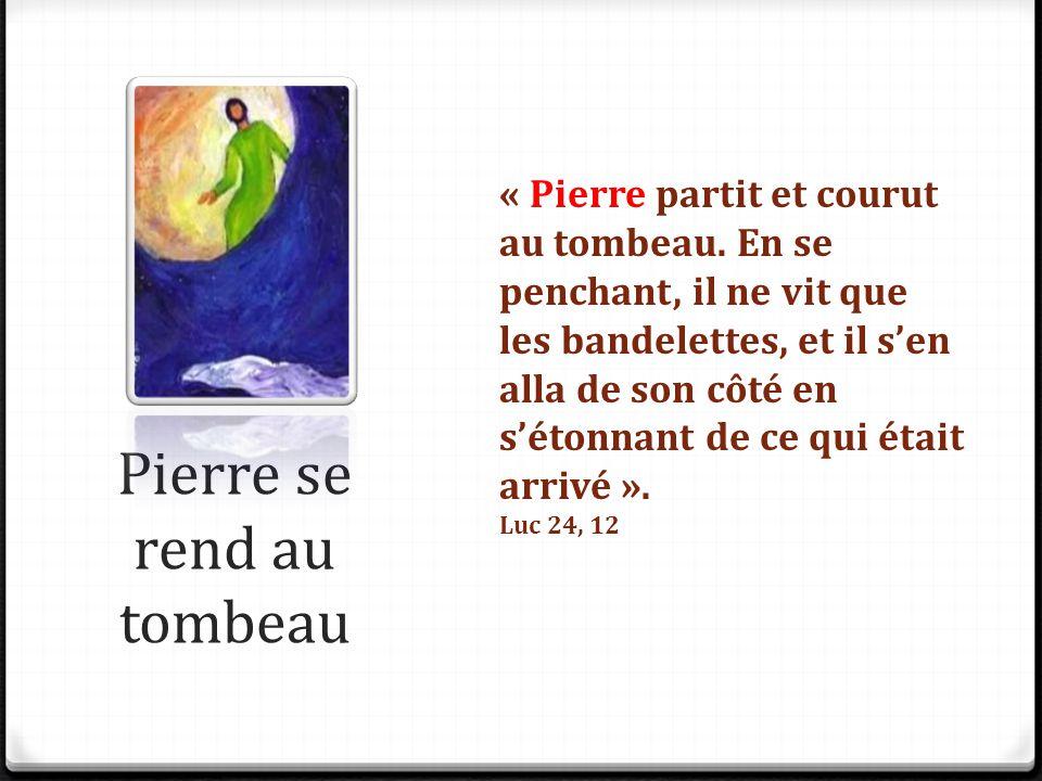 Pierre se rend au tombeau « Pierre partit et courut au tombeau. En se penchant, il ne vit que les bandelettes, et il s'en alla de son côté en s'étonna
