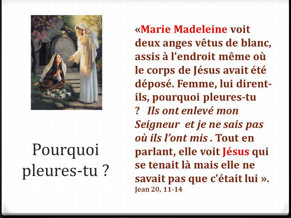 Pourquoi pleures-tu ? «Marie Madeleine voit deux anges vêtus de blanc, assis à l'endroit même où le corps de Jésus avait été déposé. Femme, lui dirent