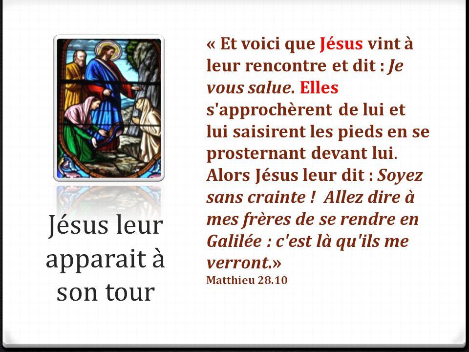 Jésus leur apparait à son tour « Et voici que Jésus vint à leur rencontre et dit : Je vous salue. Elles s'approchèrent de lui et lui saisirent les pie