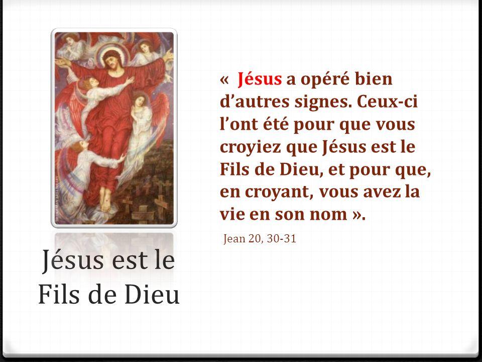Jésus est le Fils de Dieu « Jésus a opéré bien d'autres signes. Ceux-ci l'ont été pour que vous croyiez que Jésus est le Fils de Dieu, et pour que, en