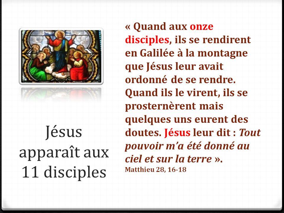 Jésus apparaît aux 11 disciples « Quand aux onze disciples, ils se rendirent en Galilée à la montagne que Jésus leur avait ordonné de se rendre. Quand