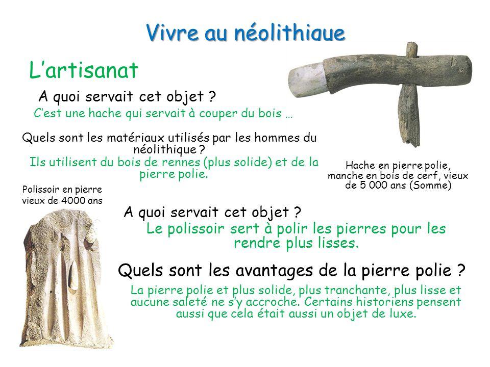 Vivre au néolithique L'artisanat Hache en pierre polie, manche en bois de cerf, vieux de 5 000 ans (Somme) A quoi servait cet objet .