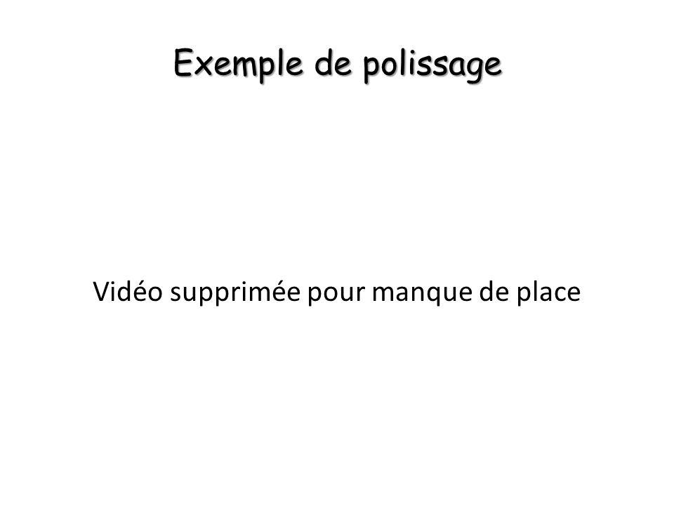 Exemple de polissage Vidéo supprimée pour manque de place
