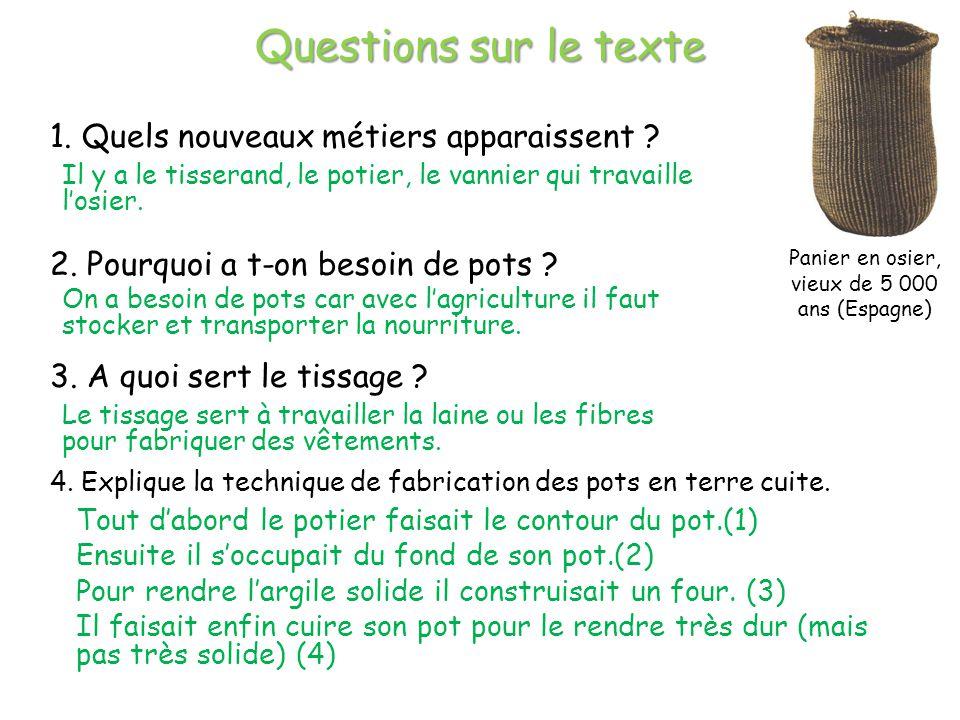 Questions sur le texte 1.Quels nouveaux métiers apparaissent .