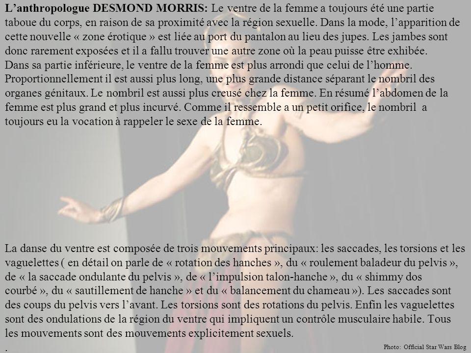 L'anthropologue DESMOND MORRIS: Le ventre de la femme a toujours été une partie taboue du corps, en raison de sa proximité avec la région sexuelle.