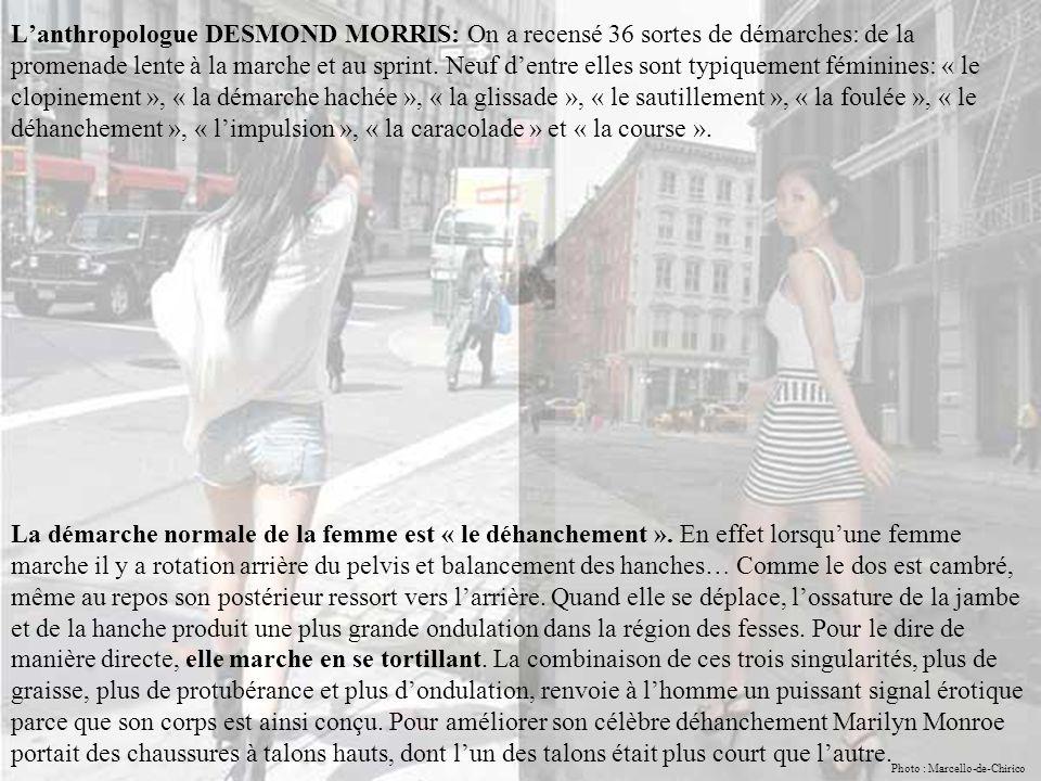 L'anthropologue DESMOND MORRIS: On a recensé 36 sortes de démarches: de la promenade lente à la marche et au sprint.