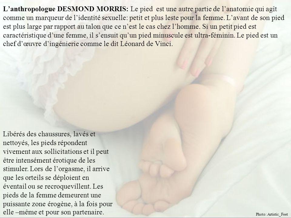 L'anthropologue DESMOND MORRIS: Le pied est une autre partie de l'anatomie qui agît comme un marqueur de l'identité sexuelle: petit et plus leste pour la femme.