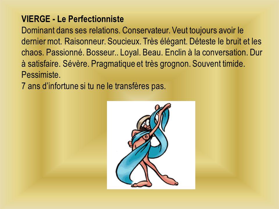 VIERGE - Le Perfectionniste Dominant dans ses relations.
