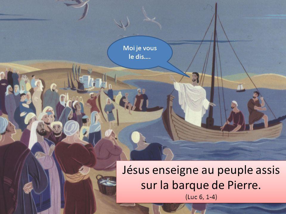 Jésus enseigne au peuple assis sur la barque de Pierre.