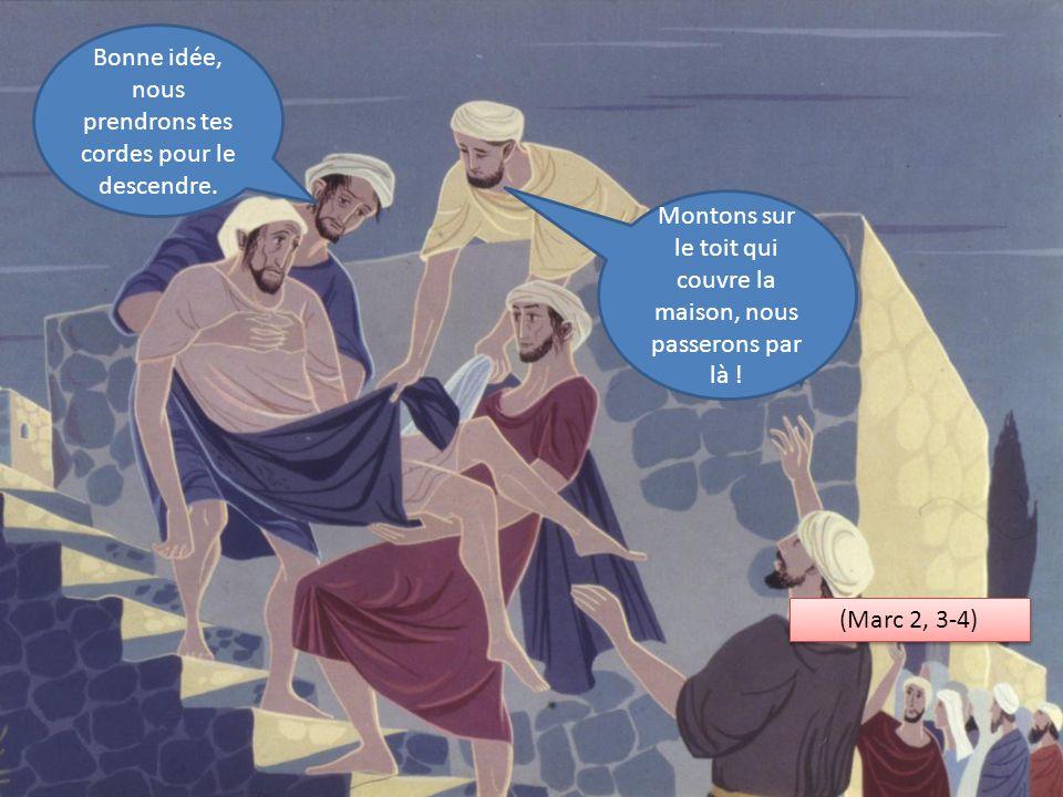 Montons sur le toit qui couvre la maison, nous passerons par là ! Bonne idée, nous prendrons tes cordes pour le descendre. (Marc 2, 3-4)