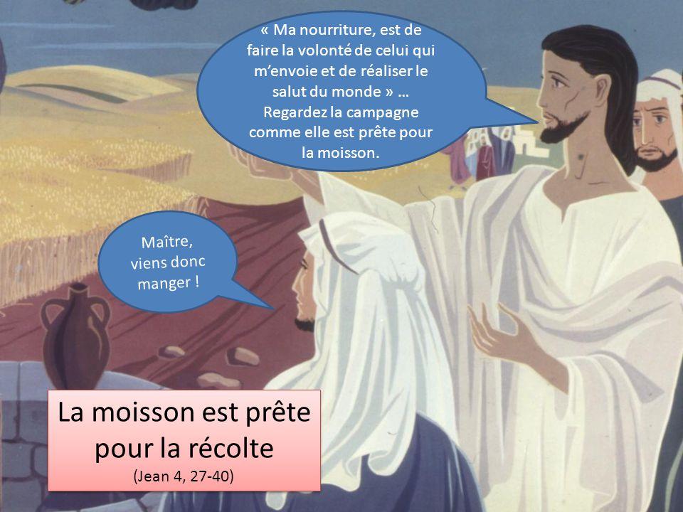 La moisson est prête pour la récolte (Jean 4, 27-40) La moisson est prête pour la récolte (Jean 4, 27-40) « Ma nourriture, est de faire la volonté de