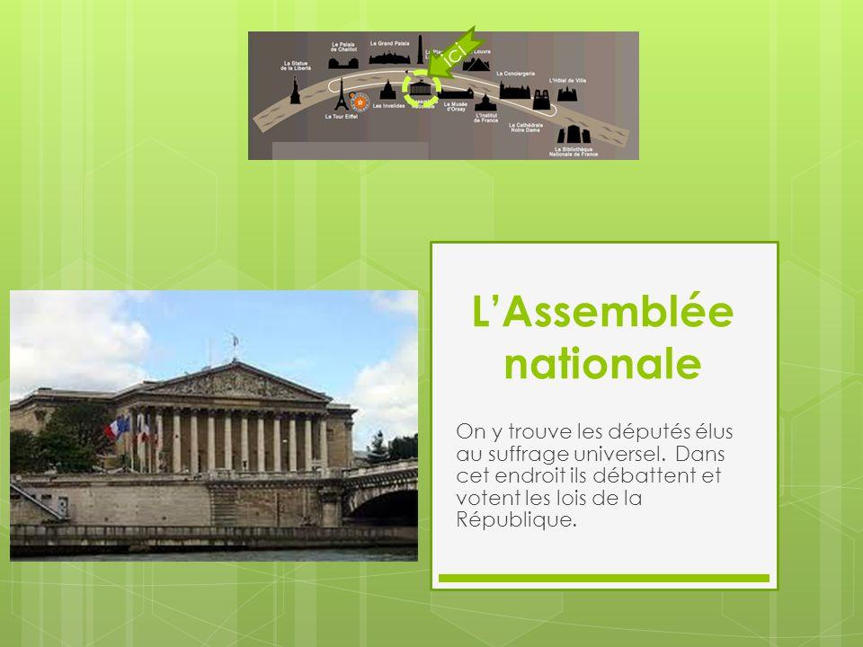 L'Assemblée nationale On y trouve les députés élus au suffrage universel. Dans cet endroit ils débattent et votent les lois de la République. ici