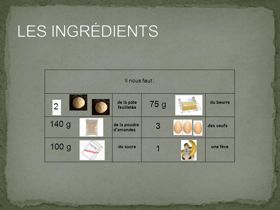 Il nous faut : de la pâte feuilletée du beurre de la poudre d'amandes des oeufs du sucre une fève 2 140 g 100 g 75 g 3 1